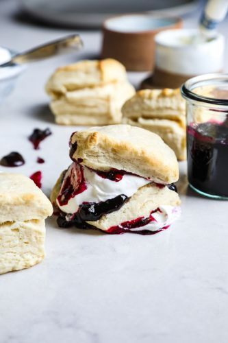 Biscuits with Bourbon-Blueberry Quick Jam from the 'The Minimalist Kitchen' Cookbook