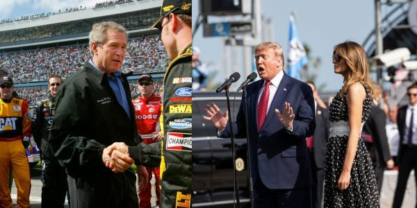 Taking a page from George W. Bush, Trump attends the Daytona 500 amid his bid for re-election