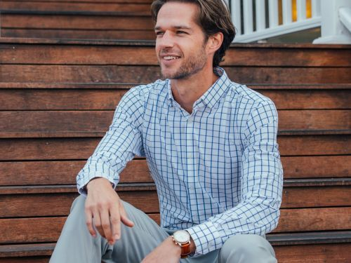 This dress shirt is made from a super stretchy performance material - but it looks and feels professional enough for the workplace