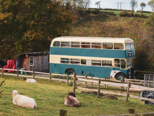 This vintage double-decker bus was transformed into a short-term rental that's parked on a farm in Wales. Take a look inside