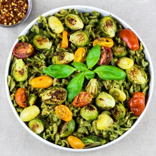 Roasted Vegetable Pasta with Pesto