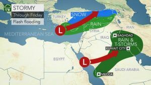 Storms will bring rain, snow to the Middle East into Friday