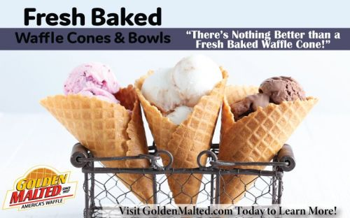 Add Fresh Baked Golden Malted Waffle Cones and Bowls to Your Menu