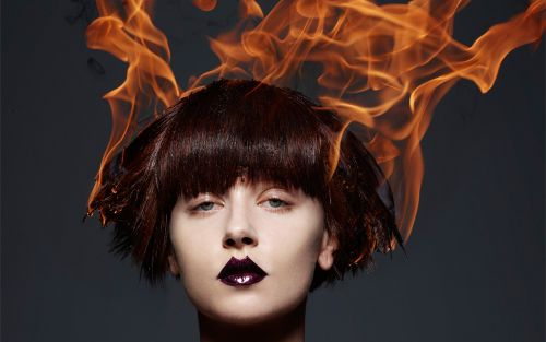 High fashion wigs meets flame, a new editorial from Rankin