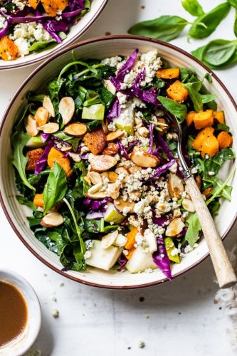 Kale and Butternut Squash Salad with Pears and Almonds