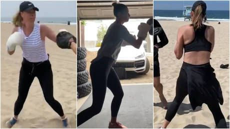'I need WAY more practice': Maria Sharapova sharpens her boxing skills as she creates showreel of her latest pads sessions