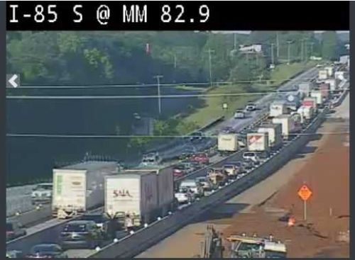 Part of I-85 in Spartanburg County shut down due to crash