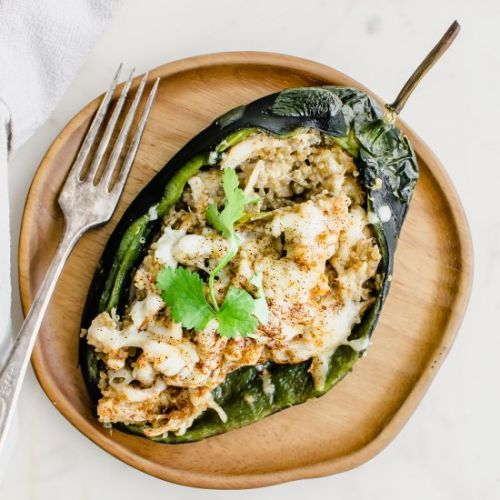 Quinoa + Chicken Stuffed Poblanos