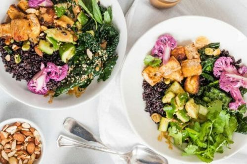 Black Rice Bowls with Tofu and Veggies