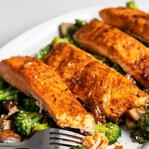 Keto Teriyaki Salmon and Broccoli