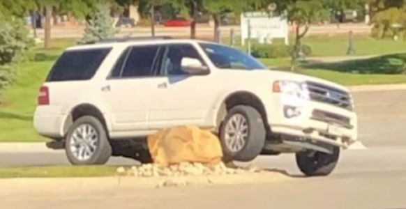 Evil Boulder Menace Somehow Manages To Take Out A Fistful Of SUVs