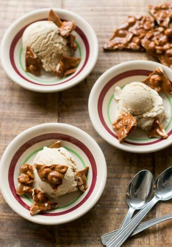 Sorghum Ice Cream with Sorghum Peanut Brittle