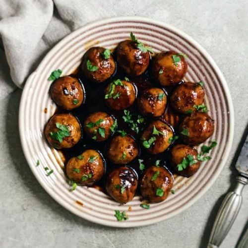 Caramelised mushrooms with soy
