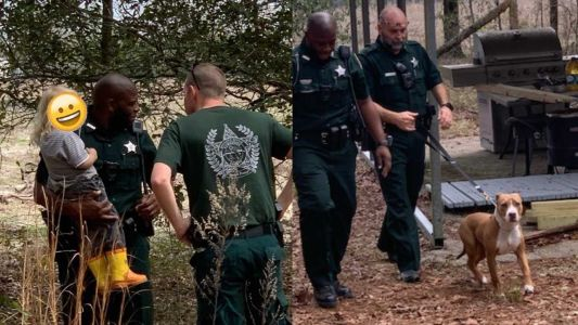 Florida toddler found being protected by family dog while lost in woods