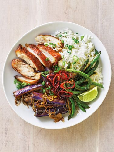 Thai Chicken Bowl with Green Beans, Eggplant and Coconut Rice