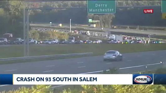 Traffic backed up on I-93 South after crash involving two tractor-trailers