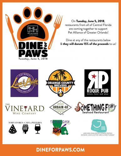 """""""Dine For Paws"""" At Central Florida Restaurants To Support Pet Alliance Of Greater Orlando On Tuesday, June 5"""