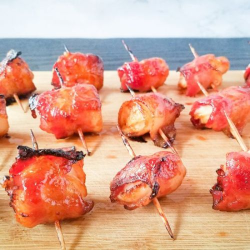 Glazed Bacon Wrapped Waterchestnuts