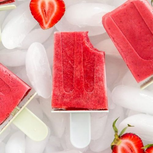 Strawberries and Cream Popsicles