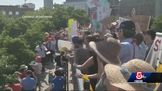Hundreds protest family separation outside Boston ICE facility