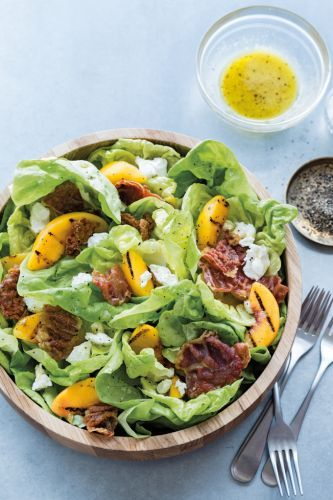 Bibb Lettuce Salad with Grilled Peaches and Prosciutto