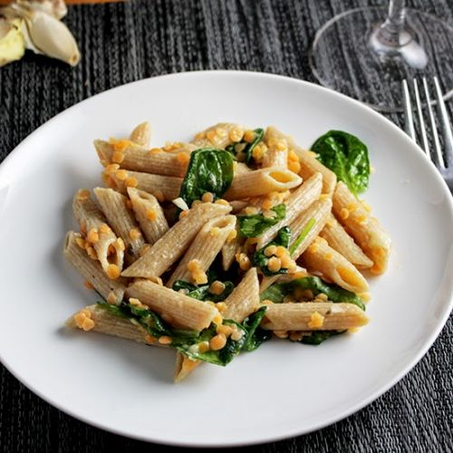 Penne with Red Lentils and Ginger for WeekdaySupper