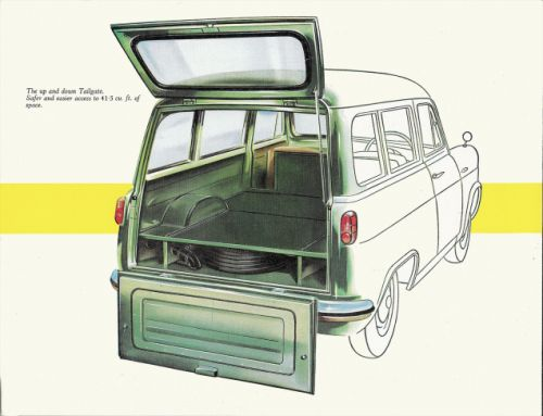 This 1958 Ford Escort Spacewagon has a nice design here with the underfloor area reserved for the fi