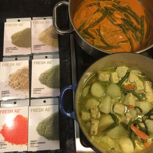 Fresh As freeze dried herbs and spices for some Thai inspired Vegan curries
