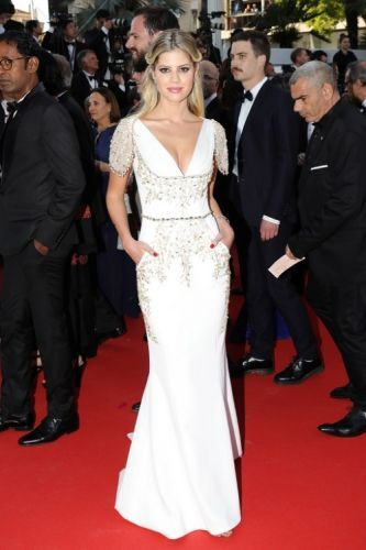 Lala Rudge looked ravishing in GEORGES HOBEIKA at the screening