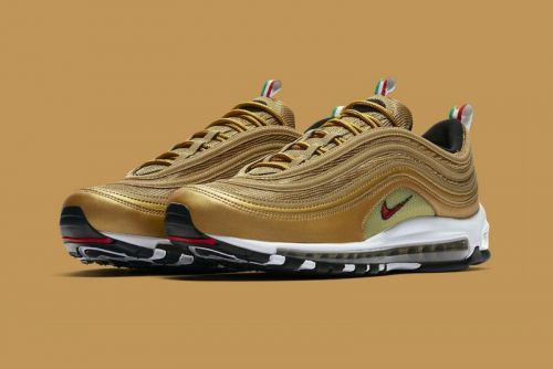 "Nike's Air Max 97 ""Metallic Gold"" Gets Updated With Italian Flag Pull Tabs"