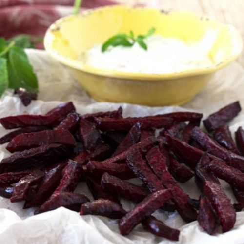 Crispy Roasted Beets & HerbedYogurt