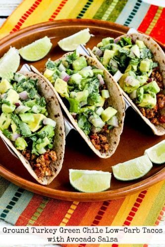 Ground Turkey Green Chile Low-Carb Tacos with Avocado Salsa
