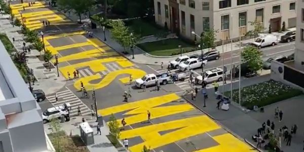Washington DC paints huge 'Black Lives Matter' mural on street leading up to White House