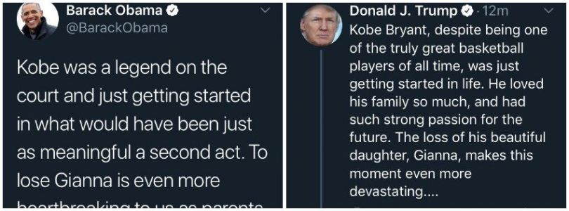 People are accusing Trump of copying Obama's Twitter tribute to Kobe Bryant, after the president's first message was slammed