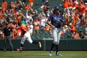 Rays rebound to beat Orioles 10-3 for doubleheader split