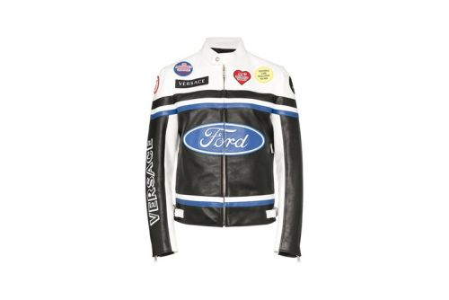 Versace Continues Luxe Ford Logo Capsule With Leather Biker Jacket