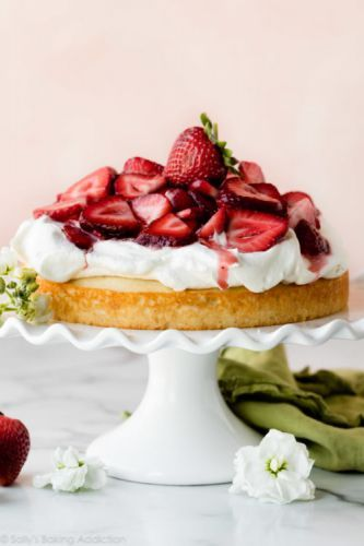 One Layer Strawberry Shortcake Cake