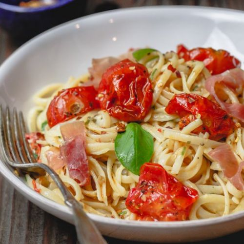 Carbonara with Roasted Tomatoes
