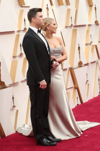 Scarlett Johansson Didn't Hide Her Engagement Ring From Colin Jost at the Oscars