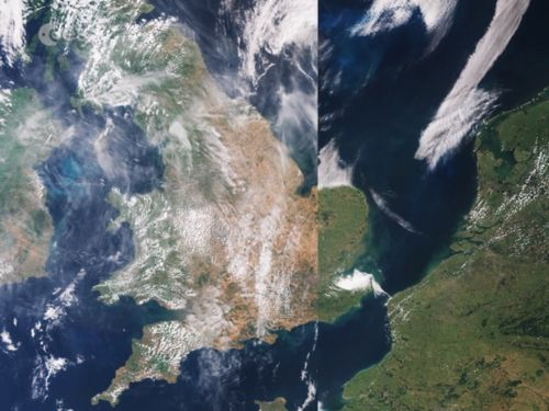 Dramatic satellite images of Europe show how this summer's heatwave scorched entire countries