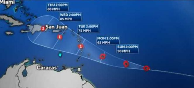 Tropical Storm Dorian is expected to strengthen into a hurricane