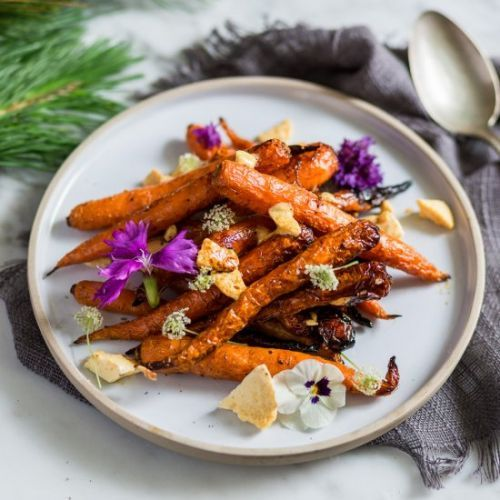 Maple glazed carrots with honeycomb