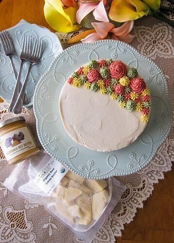 Vegan Coconut Macadamia Carrot Cake with White Chocolate Frosting