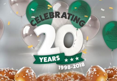 Philly Pretzel Factory Announces Free Pretzels for Everyone to Celebrate 20 Year Anniversary