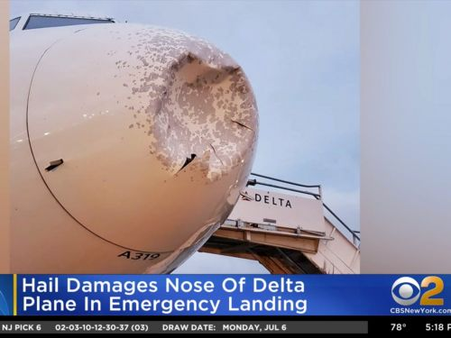 A Delta flight was forced to make an emergency landing after hail made the plane's nose collapse
