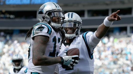 WATCH: Cam Newton and former Panther Kelvin Benjamin exchange words before kickoff