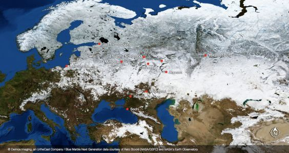 Satellite images reveal what Russia's World Cup stadiums look like from space