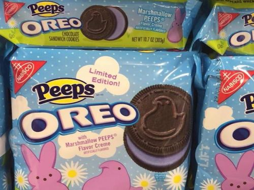Peeps Oreos are filled with a lilac marshmallow cream - but you can only get them for a limited time