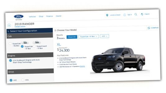 The 2019 Ford Ranger Configurator Is Live But Hidden, Still Shows Starting Price of $24,000