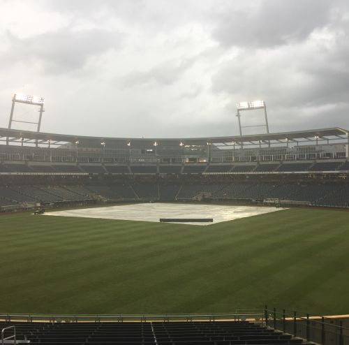 Another weather delay at the College World Series keeps fans waiting for baseball action